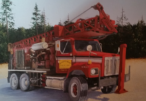 Painting of Edward Wright's Well Drilling Rig